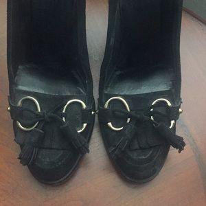 Gucci black suede heels.